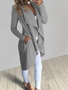 Grey Pockets Irregular Turndown Collar Long Sleeve Casual Coat