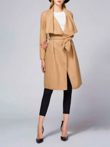 Khaki Pockets Sashes Turndown Collar Long Sleeve Casual Coat