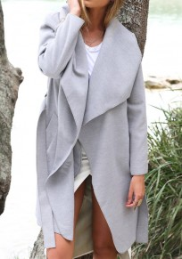 Grey Drawstring Pockets Turndown Collar Long Sleeve Casual Coat