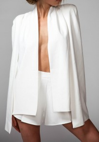 White Patchwork Irregular Cape Long Sleeve Fashion Suit