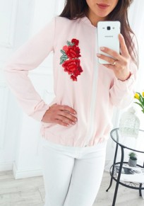 Pink Floral Embroidery Zipper Long Sleeve Fashion Coat
