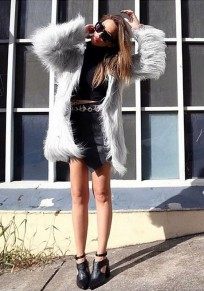 Grey Irregular Fur Vest Long Sleeve Fashion Coat