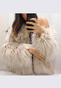 Khaki Fur Irregular Round Neck Long Sleeve Fashion Coat