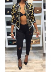Black Contrast Binding Print Zipper Bomber Fashion Jacket