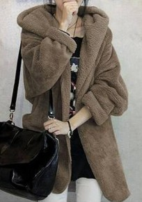 Khaki Irregular Belt Hooded No Button Long Sleeve Cardigan Wool Coat