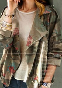 Army Green Camouflage Print Pockets Zipper Tailored Collar Trench Coat