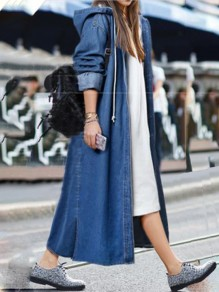 Dark Blue Drawstring Buttons Side Slit Hooded Casual Denim Long Coat