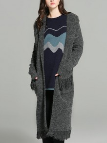 Grey Pockets Tassel Plus Size Casual Trench Coat