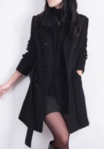 Black Sashes Pockets Buttons Turndown Collar Long Sleeve Coat