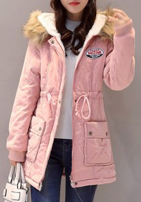 Pink Pockets Drawstring Zipper Hooded Long Sleeve Cardigan Parka