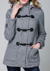 Grey Buttons Long Sleeve Single Breasted Fashion Outerwear