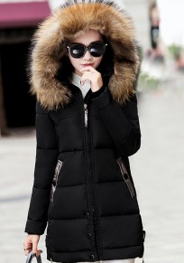 Black Pockets Fur Zipper Hooded Long Sleeve Fashion Outerwear