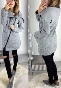 Grey Pockets Irregular Side Zip Turndown Collar Long Sleeve Casual Cardigan Coat