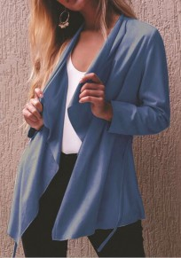 Blue Sashes Irregular Long Sleeve Fashion Cardigan Coat