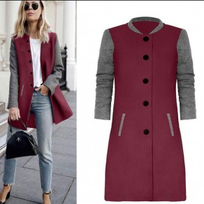 Wine Red Patchwork Print Round Neck Single Breasted Casual Coat