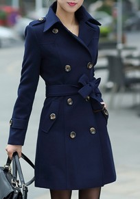 ea2fb965ab4 Navy Blue Buttons Pockets Sashes Turndown Collar Double Breasted Wool Coat