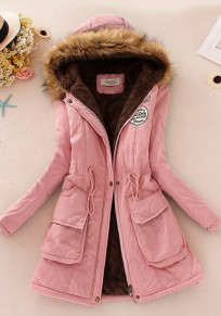Pink Patchwork Drawstring Faux Fur Pocket Parka Hooded Long Sleeve Coat