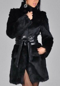 Black Fur Belt Band Collar Long Sleeve Cardigan Coat