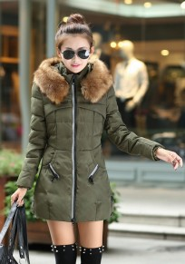 Army Green Patchwork Pockets Zipper Hooded Long Sleeve Casual Coat
