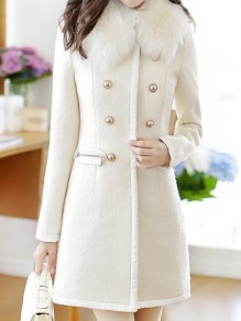 White Pockets Turndown Collar Double Breasted Long Sleeve Cardigan Coat