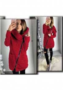Red Plain Zipper Pockets Turndown Collar Casual Coat