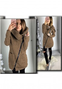 Coffee Plain Zipper Pockets Turndown Collar Casual Coat