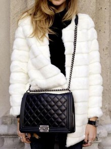 White Fur Round Neck Long Sleeve Fashion Coat