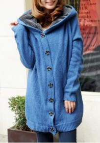 Blue Patchwork Single Breasted Long Sleeve Hooded Cardigan Sweater Coat