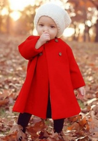 Red Draped Buttons Kid Baby Long Sleeve Cute Thick Coat