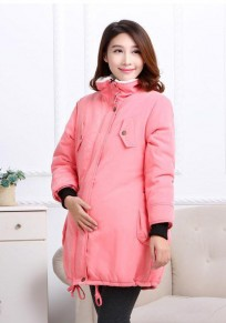 Pink Drawstring Pockets Zipper Casual Maternity Winter Warm Parka Coat