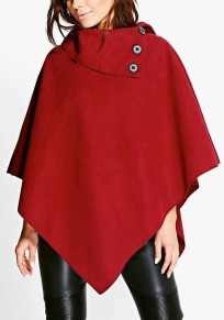 Red Buttons Irregular Turndown Collar Oversized Pullover Cape Wool Coat