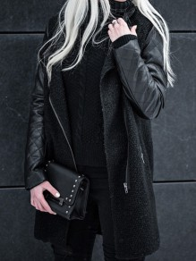 Black Patchwork Pockets Turndown Collar Zipper Casual Jackets Coat