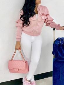 Pink Patchwork Zipper Ruffle Long Sleeve Band Collar Casual Coat