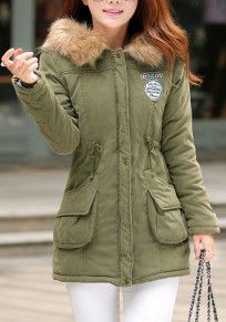 Army Green Patchwork Pockets Zipper Drawstring Fur Hooded Padded Coat