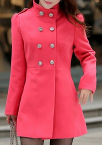 Red Buttons Pockets Turndown Collar Elegant Cardigan Wool Coats