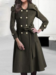 Army Green Pockets Double Breasted Belt Long Sleeve Military Preppy Peacoat Wool Coat