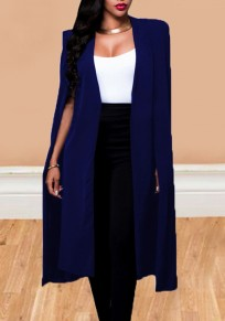 Blue Irregular Long Sleeve Fashion Office Worker Cape Coat