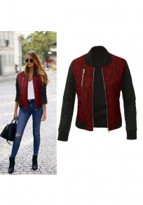 Wine Red Patchwork Zipper Band Collar Cotton Fashion Coat