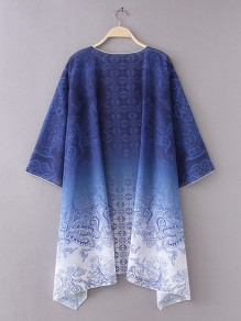 Blue Floral Irregular Side Slit Omombre Flowy Kimono Cover Up Cardigan Coat