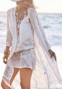 White fringes Tassel Lace Cover-Up Bikini Swimsuit Chiffon Smock Bohemian Kimono Cardigan Coat