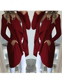 Wine Red High-Low Pockets Turndown Collar Long Sleeve Coat