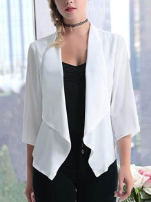 White Irregular Chiffon Turndown Collar 3/4 Sleeve Casual Coat