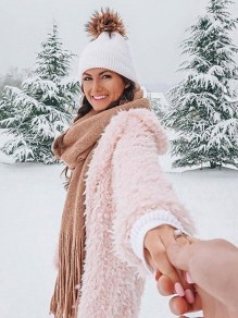 Pink Faux Fur Teddy Long Sleeve Popcorn Pile Fashion Casual Hooded Cardigan Coat