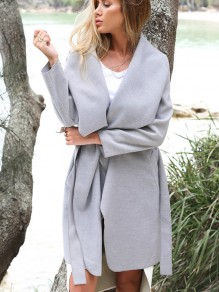 Grey Plain Pockets Belt Turndown Collar Going out Casual Coat