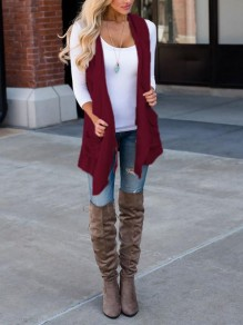 Burgundy Pockets Irregular Draped Waterfall Collar Casual Vest Coat