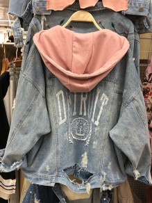 Light Blue Patchwork Drawstring Pockets Buttons Hooded Fashion Jeans Outerwear