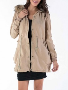 Khaki Pockets Drawstring Fur Zipper Buttons Hooded Long Sleeve Casual Coat