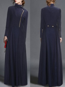 Navy Blue Zipper Buttons Draped Turndown Collar Long Sleeve Elegant Coat