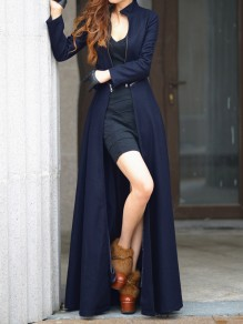 Navy Blue Zipper Draped Round Neck Long Sleeve Elegant Coat