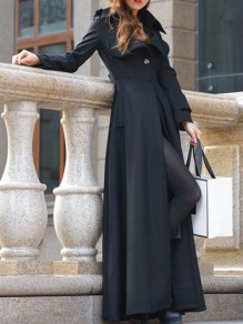 Black Buttons Turndown Collar Long Sleeve Elegant Coat